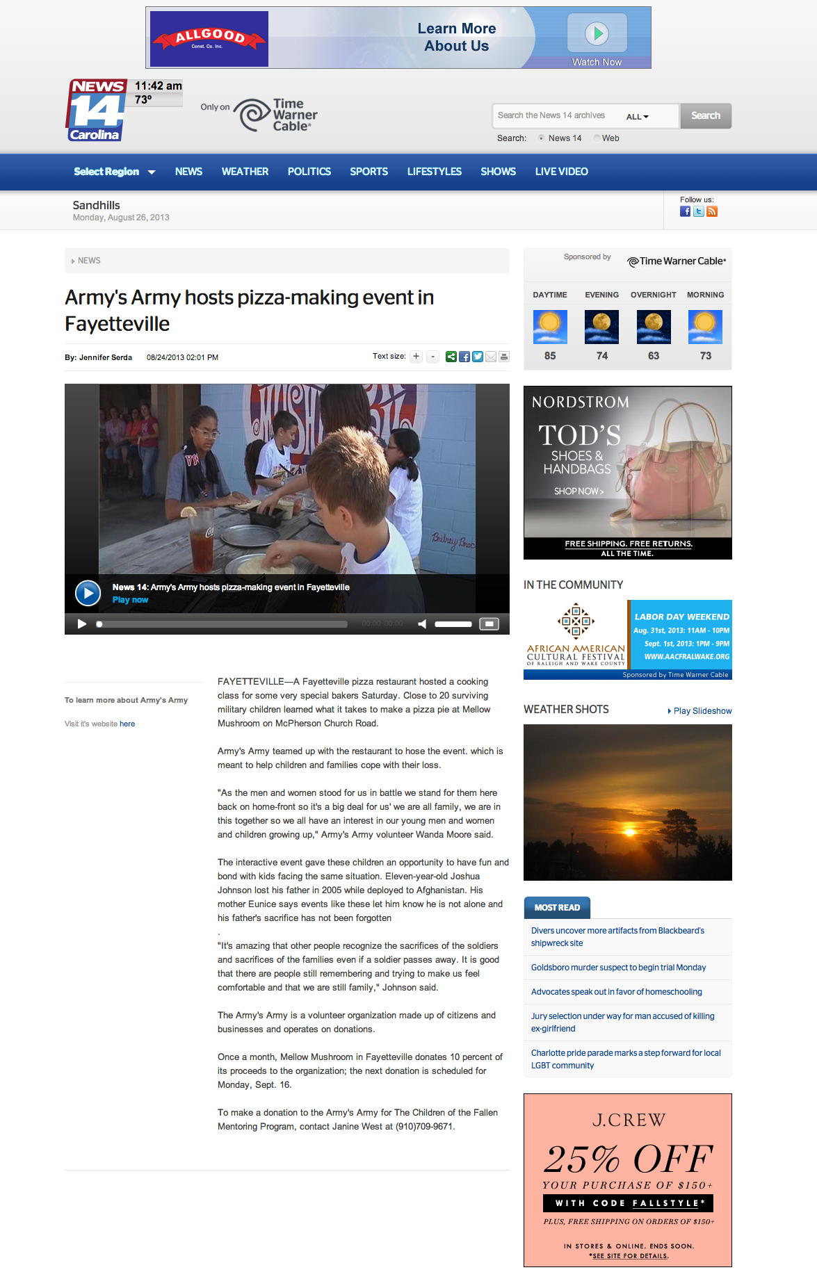 News14-Army s Army hosts pizza making event in Fayetteville   News 14
