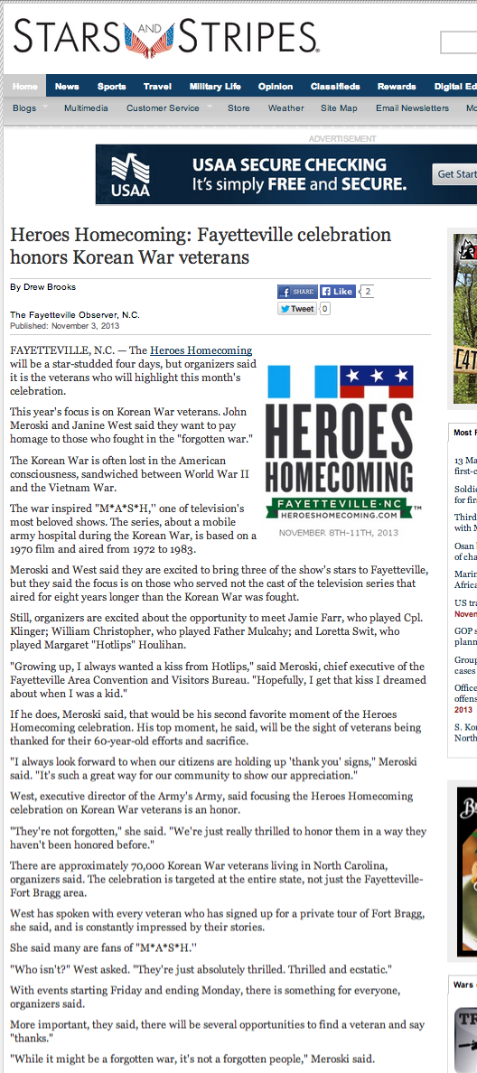 Heroes Homecoming  Fayetteville celebration honors Korean War veterans   Stripes   Independent U.S. military news from Iraq  Afghanistan and bases worldwide
