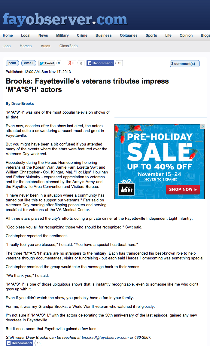Brooks  Fayetteville s veterans tributes impress  M A S H  actors